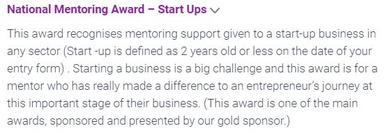 Start-up category description